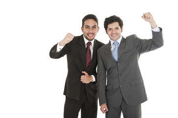 two elegant men in suits posing