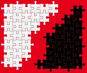 puzzle noir/blanc, fond rouge