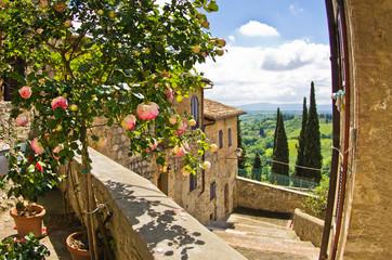 Printed kitchen splashbacks Tuscany Roses at balcony in San Gimignano, Tuscany landscape background