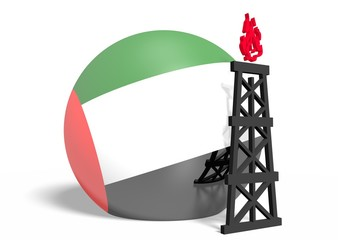 united arab emirates flag on sphere and 3d gas rig model near