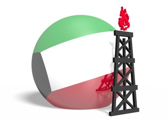 kuwait national flag on sphere and 3d gas rig model near