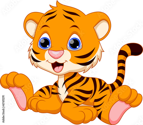 Quot cute baby tiger cartoon stock image and royalty free