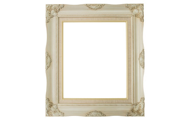 Old picture frame isolate on white background with clipping path