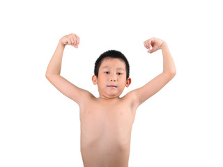 Thin boy showing his muscles isolated on white background