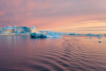 Iceberg in Disko Bay by night, Ilulissat, Greenland