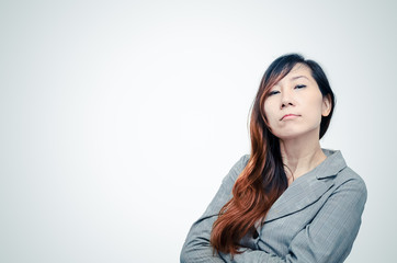 Portrait of an attractive stylish smart Asian woman.