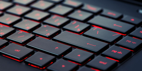 Modern red backlit keyboard Wall mural