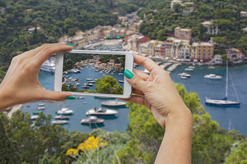 Portofino photographing with mobile phone