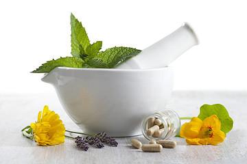 Fototapeta complements alimentaires à base de plantes et fleurs médicinales obraz
