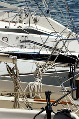 Rigging detail on luxury sailing boats