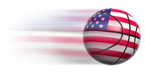 Basketball ball with flag of USA in motion isolated