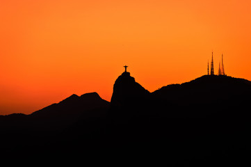 Wall Mural - Rio de Janeiro Mountains with Corcovado by Sunset