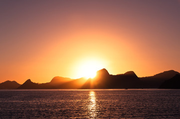 Sunrise in Rio de Janeiro with mountains in the Horizon