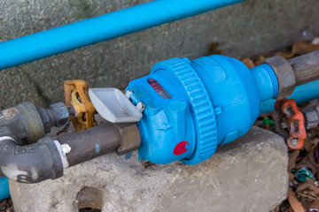 Blue Water meter and water pipe