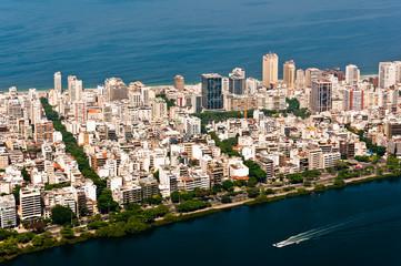 Ipanema District in Rio de Janeiro between Ocean and Lake