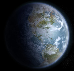 Earth from space with the Americas