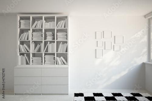 b cherregal und bilderrahmen an wand stock photo and. Black Bedroom Furniture Sets. Home Design Ideas