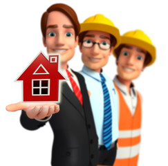 Group business people in office with house sign