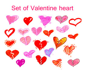 Set of heart valentines day.