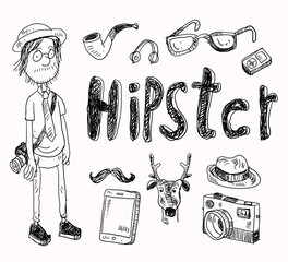 set of Hipster style elements