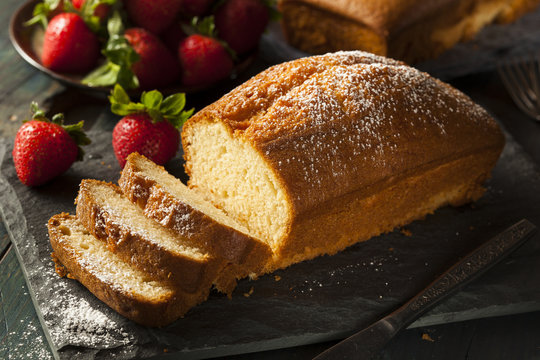 Homemade Pound Cake with Strawberries