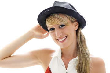 Smiling woman hat on white background