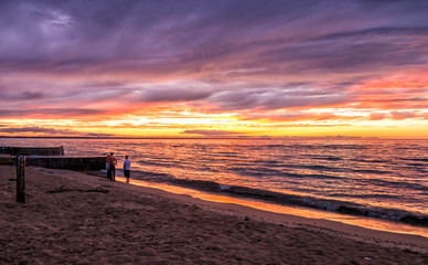 Stormy sunset on Lake huron