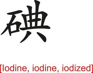 Chinese Sign for Iodine, iodine, iodized