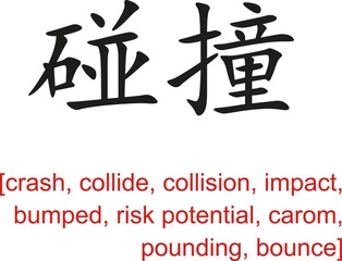 Chinese Sign for crash, collide, collision,impact,bumped,bounce