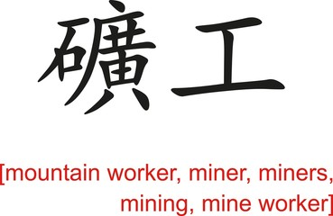 Chinese Sign for mountain worker, miner, mining, mine worker