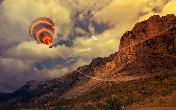 Colorful Hot air balloon flying mountain valley Göreme National Park and the Rock Sites of Cappadocia Turkey