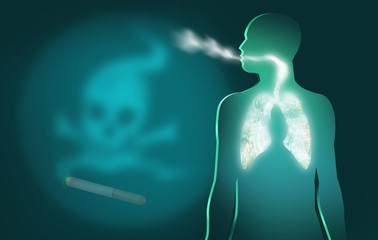 Smoking is Dangerous to Your Health. Cigar and Death Signs.