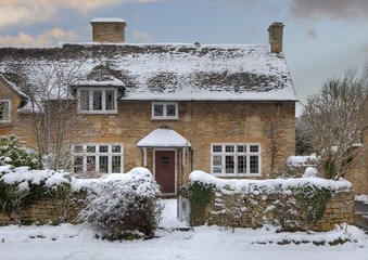 Cotswold cottage in snow