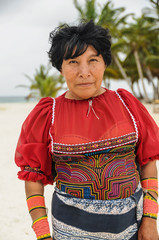 SAN BLAS, PANAMA - MARCH 28, 2012: Native indian colorful portra