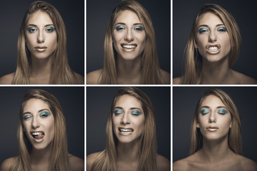 Six portraits of sexy young woman in different expressions
