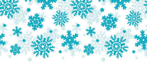 Blue Frost Snowflakes Horizontal Seamless Pattern Background
