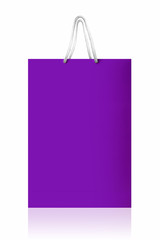 Violet shopping bag, isolated with clipping path on white backgr