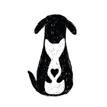 Silhouette icon of cat and dog friendship