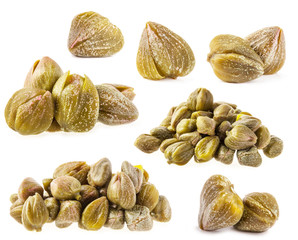 Collections of capers isolated on white background