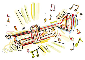 Fototapete - Isolated Trumpet