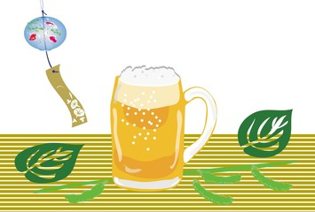 生ビールと枝豆と風鈴の夏のイラスト