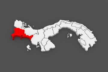 Map of Chiriqui. Panama.