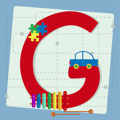 "Letter ""g"" from stylized alphabet with children's toys"