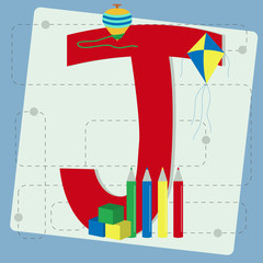 "Letter ""j"" from stylized alphabet with children's toys"