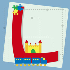 """Letter """"l"""" from stylized alphabet with children's toys"""