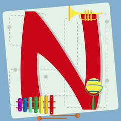"Letter ""n"" from stylized alphabet with children's toys"