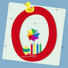 "Letter ""o"" from stylized alphabet with children's toys"
