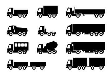 set of silhouettes the cargo trucks.