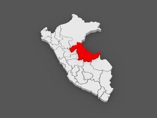 Map of Ucayali. Peru.