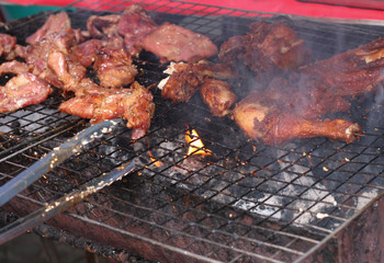 Pork and chicken barbecue